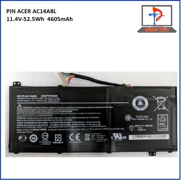PIN ACER ASPIRE VN7-571 AC14A8L 11.4V-52.5WH 4605mAh
