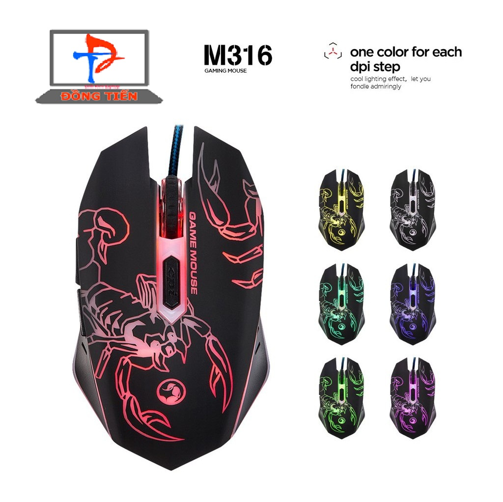 Mouse Marvo  M 316 đen LED ( USB )